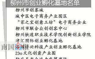 广西柳州市认定9家创业孵化基地 基地可获管理服务补助?