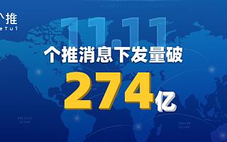 """2019年""""11.11""""完美落幕,个推消息下发量破274亿,再创新高!"""