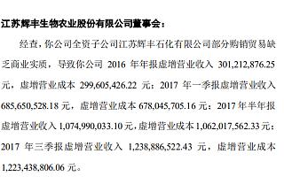 辉丰股份两年累计虚增收入15亿 遭深交所监管函处罚