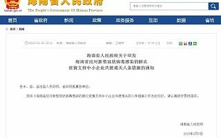 [海南]八条措施支持中小企业共渡难关