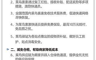 阿里菜鸟发布十五项细化措施 未开工企业人员可到物流园区上岗