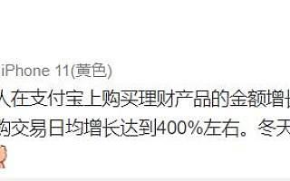 2月4日以来支付宝上基金申购交易日均增长400%左右