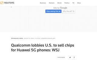 美媒称高通正游说美政府取消向<font>华为</font>出售芯片限制