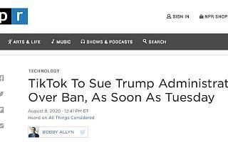 TikTok最快将于周二就禁令起诉特朗普政府