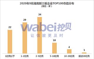 2020年9月湖南新三板企业市值TOP100 上榜门槛0.54亿元