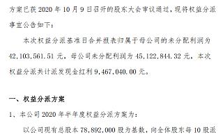 独凤轩2020年半年度分红:10派1.2元 共派现946.7万元