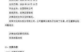 好样文娱未按期披露2018年年报 现公司及董事长丁乐谦被股转口头警示