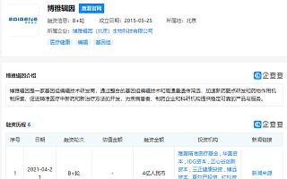 """生物医药企业""""博雅辑因""""获4亿元B+轮融资"""