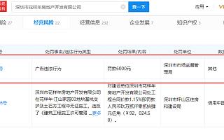 深圳花样年涉嫌房地产广告违法被罚6000元