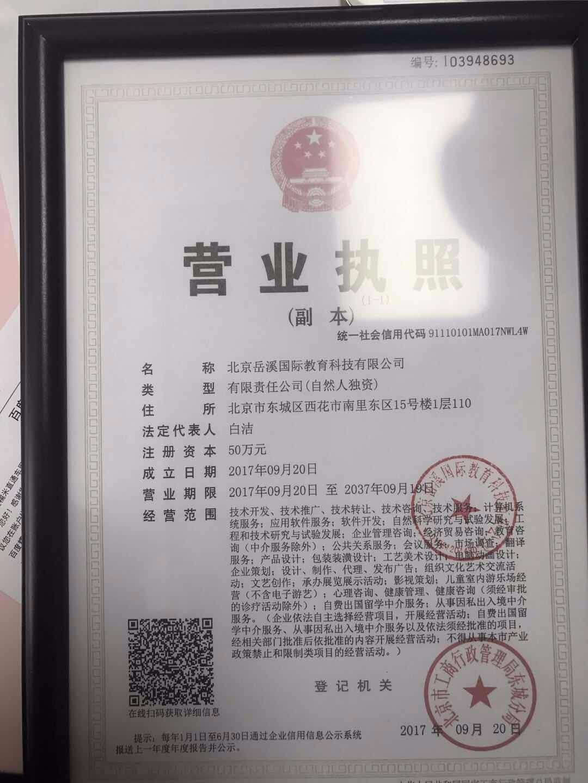 北京岳溪国际教育科技有限公司